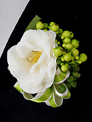 Wedding Flowers Free-form Roses Peonies Boutonnieres Wedding Party/ Evening Pink / Green / Peach Satin