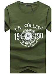 Tee-shirt Homme,Imprimé Décontracté / Quotidien Grandes Tailles simple Eté Manches Courtes Col Arrondi Coton Moyen