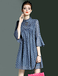 YHSPWomen's Going out Beach Holiday Simple Cute Sophisticated A Line Loose Swing DressPolka Dot Jacquard Stand Above Knee  Sleeve Polyester