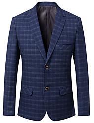 Men's Casual/Daily Work Vintage Simple Spring Fall BlazerPlaid V Neck Long Sleeve Regular Cotton Acrylic 916615