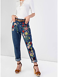 Women's Slim Jeans Pants,Going out Casual/Daily Simple Street chic Solid Mid Rise Zipper Polyester Micro-elastic Fall Winter