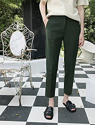 Fat MM nine points through hot chic cigarette pants Famous loose thin solid color casual small straight pants suit