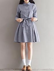 Feminino Evasê Vestido,Casual Simples Listrado Colarinho de Camisa Altura dos Joelhos Manga Longa Raiom Primavera Cintura Baixa