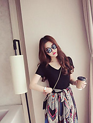 Women new Korean female short-sleeved printed chiffon dress was thin V-neck long section waist dress