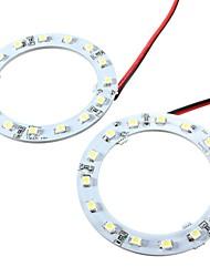um par de 60mm frio branco 15 levaram olhos carro angel SMD luzes anel de halo faróis (12v)