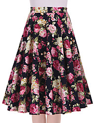 Women's Navy Blue Floral Going out Casual/Daily Knee-length Skirts Vintage Swing Dress All Seasons Mid Rise