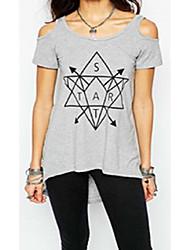 Aliexpress ebay quente novos elementos geométricos impresso top feminino sexy strapless de manga curta t-shirt mulheres