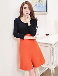 Real shot in summer 2017 new Korean women's round neck stitching line fashion sexy package hip Slim dress tide