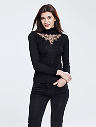 Women's Choker|Lace Casual/Daily Sexy / Simple Regular PulloverSolid Turtleneck Long Sleeve Polyester Fall / Winter Medium