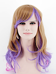 Women Synthetic Wigs Japan and South Korea fashion brown purple mixed color long side bangs wavy Heat Friendly Fiber wig