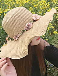 Spring Straw Hat Ribbon Flowers Double Color Outdoor Lady Beach Sun Hat for Women
