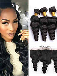 Vinsteen 8A Indian Loose Wave 100% Human Hair Wefts 4pcs with 13x4 Lace Frontal Closure Extensions Unprocessed Hair Wefts Natural Color Can Be Dyed
