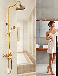 Antique Country Modern Shower Only Rotatable with  Ceramic Valve Single Handle Two Holes for  Antique Copper , Shower Faucet