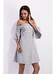 Sign outer mold foreign trade new color striped jacquard collar speaker Sleeve Tee halter dress