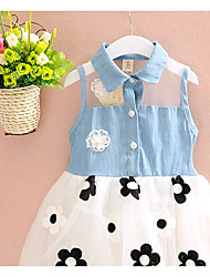 Girl's Casual/Daily Solid Floral Dress,Cotton Summer Sleeveless