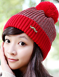 Women Stretch Beard Icon Printing Stitching Color Fluff Ball Velvet Plus Cashmere Knitting Wool Knit Outdoor Winter Hat