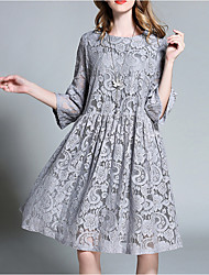 Women's Lace Plus Size Casual/Daily Holiday Sexy Vintage Simple Loose Lace Dress,Solid Lace Cut Out Round Neck Knee-length ½ Length Sleeve