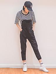 Signe printemps trou noir denim salopette femelle étudiants coréens loose lingerie pantalons taille pantalons