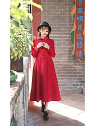 unterzeichnen neue Frühjahr 2017 Frauen&# 39; s Vintage Theater dünne Puppe Kragen langärmliges Kleid im Kleid