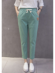 Pants 17 cotton summer new imitation wide Song Halun pants large size elastic waist pants slacks
