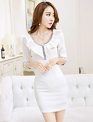 Sign 2017 spring new Korean nightclub sexy package hip dress bottoming Sleeve Girls Dress