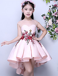 Asymmetrical Mikado Junior Bridesmaid Dress Ball Gown Jewel with Appliques