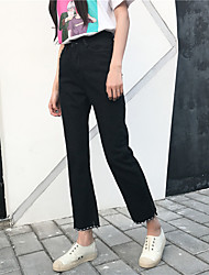 Sign ~ spring retro split open wire wild thin nine points jeans loose straight jeans influx of women