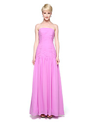 A-Line Strapless Ankle Length Chiffon Bridesmaid Dress with Pleats by LAN TING BRIDE®