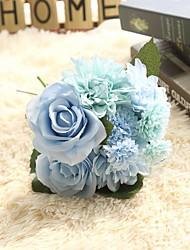 1 Une succursale Polyester Plastique Roses Fleur de Table Fleurs artificielles 9.5*9