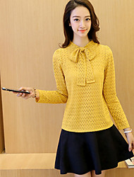 Real shot 2016 autumn new Women Korean lady bow tie to lead long-sleeved turtleneck lace shirt