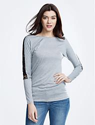Damen Einfarbig Einfach Lässig/Alltäglich T-shirt,Rundhalsausschnitt Frühling / Herbst ¾-Arm Grau Baumwolle / Kunstseide Dünn