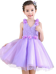 Ball Gown Short / Mini Flower Girl Dress - Cotton Lace Satin V-neck with Bow(s) Crystal Detailing Flower(s) Lace