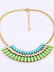 Women's Strands Necklaces Leaf Chrome Unique Design Fashion Light Green Jewelry For Wedding Congratulations 1pc