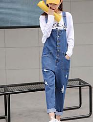 assinar 2017 novo estilo europeu selvagem solta fazer buraco velho lavado macacão jeans meia-calça feminina