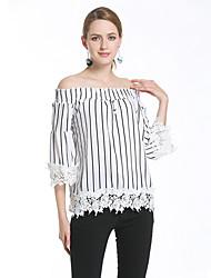 Damen Gestreift Sexy Einfach Ausgehen Lässig/Alltäglich T-shirt,Bateau Frühling Sommer Ärmellos Baumwolle Undurchsichtig