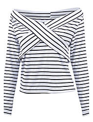 Sign AliExpress Amazon Hot striped collar jacket folded over his chest Art T-shirt women
