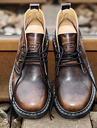 Men's Boots Spring T-Strap Rubber Casual Flat Heel Walking
