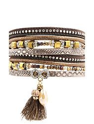 Leather Bracelet Leather Rhinestone Simulated Diamond Alloy Fashion Bohemian Irregular Brown Jewelry 1pc