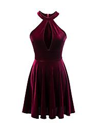 Trapèze Robe Femme Décontracté / Quotidien simple,Couleur Pleine Col en V Au dessus du genou Sans Manches Rayonne Eté Taille Basse