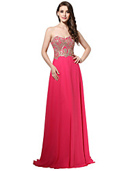 Sheath / Column Sweetheart Floor Length Chiffon Formal Evening Dress with Embroidery