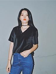 Tee-shirt Femme,Couleur Pleine Sortie simple ½ Manches Col en V Autres