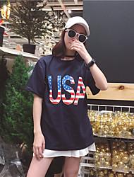 Знак 2017 лето новое направление случайных писем печатных с коротким рукавом шею сплошной цвет США устанавливает футболку женщин