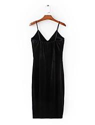 Trapèze Robe Femme Grandes TaillesCouleur Pleine Col en V Maxi Sans Manches Soie Toutes les Saisons Taille Haute Non Elastique Fin