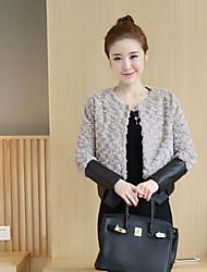 Sinal outono e inverno feminino coreano parágrafo curto pu costura de couro acolchoado de mangas compridas grossas cordeiro&# 39; s