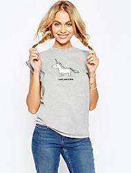 Ebay aliexpress quente novo unicórnio animal padrão impresso em torno do pescoço curto manga t-shirt mulheres tops