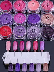 12PCS Nail Art Red And Purple A Series Of Fluorescent Toner