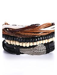 4pcs/set Punk Men's Bracelet PU Leather Bracelet Feather Adjustable Beads Multilayer for Men Fashion Jewelry