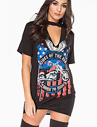 Amazon ebay wish eagle motorcycle explosion models sexy T-shirt printing Halter Dress