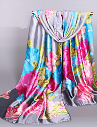 Women's Fashion Silk Polyester Cute Print Oil Painting Flowers  Spring Summer Scarfs 165*50CM