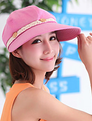 Women's Fashion Sun Hat Wide Brim/Baseball Cap Cute Casual Removable Cotton/Lace Summer Beige/Grey/Fuchsia